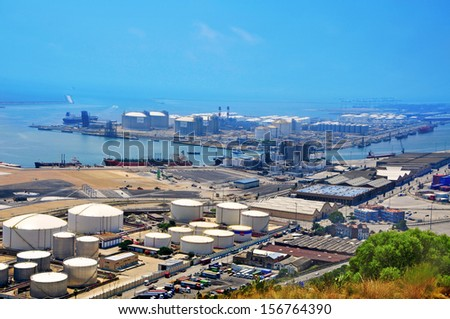 BARCELONA, SPAIN - SEPTEMBER 21: Aerial view of the facilities of the Port of Barcelona on September 21, 2013 in Barcelona, Spain. The commercial port is one of the most important in the Mediterranean