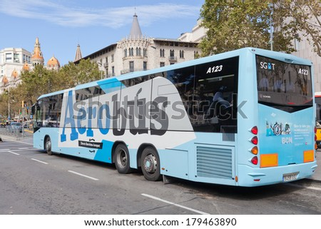 BARCELONA, SPAIN - SEPTEMBER  30,2013: Airport Aerobus in Barcelona. Barcelona airport express bus service connects the airport to the city center every day of the year.