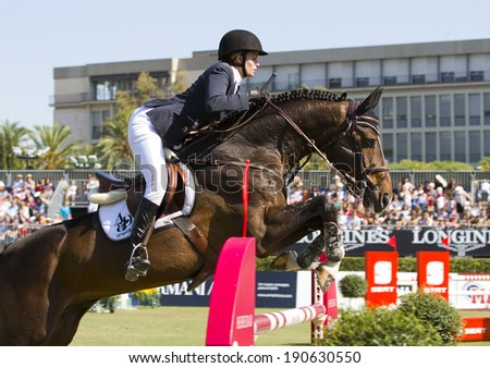 BARCELONA, SPAIN - SEPTEMBER 25: Athina Onassis de Miranda rides horse AD Unaniem during the 100th CSIO event at the Real Club de Polo Barcelona, on September 25, 2011, in Barcelona, Spain.