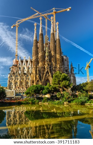 Barcelona, Spain - September 24, 2015: Basilica of La Sagrada Familia. It is designed by architect Antonio Gaudi and is being build since 1882.