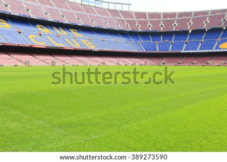 BARCELONA, SPAIN - SEPTEMBER 08, 2014: Camp Nou football stadium in Barcelona, Catalonia, Spain. Camp Nou football stadium has been the home of FC Barcelona since its completion in 1957
