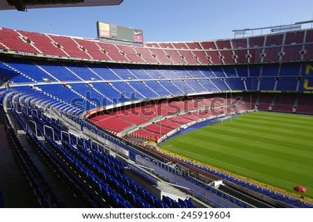 BARCELONA, SPAIN - SEPTEMBER 28, 2011: Camp Nou stadium is the highest capacity soccer stadium in Europe. photo taken on September 28, 2011 in Barcelona.  - stock photo