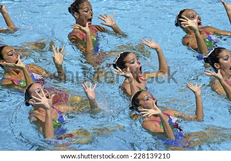 BARCELONA, SPAIN-SEPTEMBER 04,1999: Canada swimming synchronized team in action during the World Swimming Championship, in Barcelona. - stock photo