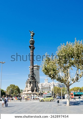 BARCELONA, SPAIN - SEPTEMBER 14: Columbus Monument in Barcelona, Spain. The monument is a 60 meters tall structure in honor of Christopher Columbus at end of La Rambla - stock photo