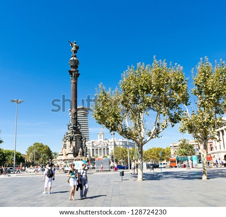 BARCELONA, SPAIN - SEPTEMBER 14: Columbus Monument on September 14, 2012 in Barcelona, Spain. The monument is a 60 meters tall structure in honor of Christopher Columbus at end of La Rambla - stock photo