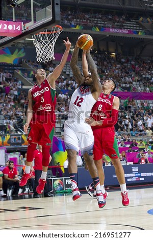 BARCELONA, SPAIN - SEPTEMBER 6: DeMarcus Cousins of USA Team (12) in action at FIBA World Cup basketball match between USA and Mexico, final score 86-63, on September 6, 2014, in Barcelona, Spain.