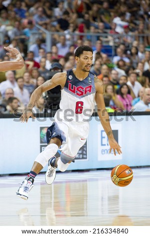 BARCELONA, SPAIN - SEPTEMBER 6: Derrick Rose of USA Team at FIBA World Cup basketball match between USA and Mexico, final score 86-63, on September 6, 2014, in Barcelona, Spain. - stock photo