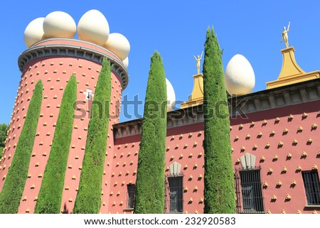 BARCELONA, SPAIN - SEPTEMBER 10, 2014: Detail of Salvador Dali museum, Figueras, Spain. The museum opened on September 28, 1974.