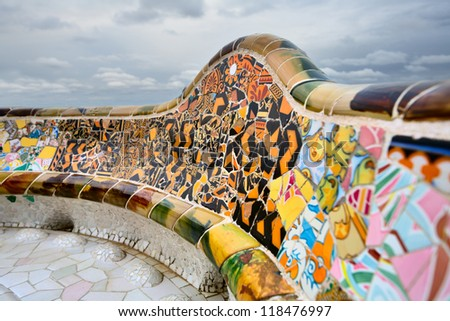 "BARCELONA,SPAIN-SEPTEMBER 27: Detail of the bench in the park Guell, designed by Antonio Gaudi, on September 27, 2012 in Barcelona. Part of the UNESCO World Heritage Site ""Works of Antonio Gaudi""."