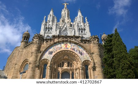 BARCELONA, SPAIN - SEPTEMBER 20: Expiatory Church of the Sacred Heart of Jesus in Barcelona, Spain on September 20, 2015. It is located in front of the free access area of the Tibidabo Amusement Park.