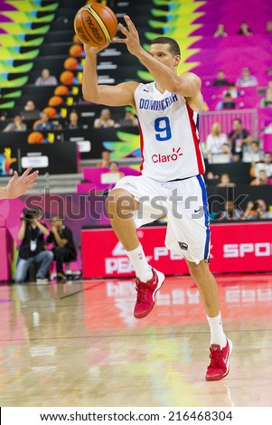 BARCELONA, SPAIN - SEPTEMBER 6: Francisco Garcia of Dominican Republic at FIBA World Cup basketball match between Slovenia and Dominican Republic, 71-61, on September 6, 2014, in Barcelona, Spain. - stock photo