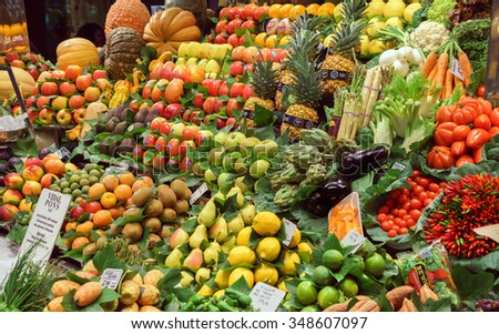 BARCELONA, SPAIN - September 29: Healthy Vegatables and Fruits in market on September 29, 2015 in Barcelona, Spain. Famous La Boqueria market / photography of the variety of fruits at the market.