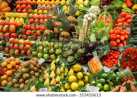 BARCELONA, SPAIN - September 29: Healthy Vegetables and Fruits in market on September 29, 2015 in Barcelona, Spain. Famous La Boqueria market / photography of the variety of fruits at the market.