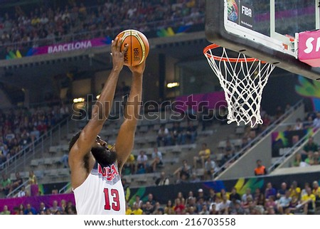 BARCELONA, SPAIN - SEPTEMBER 11: James Harden of USA in action at FIBA World Cup basketball match between USA Team and Lithuania, final score 96-68, on September 11, 2014, in Barcelona, Spain. - stock photo