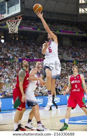 BARCELONA, SPAIN - SEPTEMBER 6: Klay Thompson of USA Team at FIBA World Cup basketball match between USA and Mexico, final score 86-63, on September 6, 2014, in Barcelona, Spain. - stock photo
