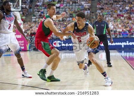 BARCELONA, SPAIN - SEPTEMBER 6: Klay Thompson of USA Team (5) in action at FIBA World Cup basketball match between USA and Mexico, final score 86-63, on September 6, 2014, in Barcelona, Spain.