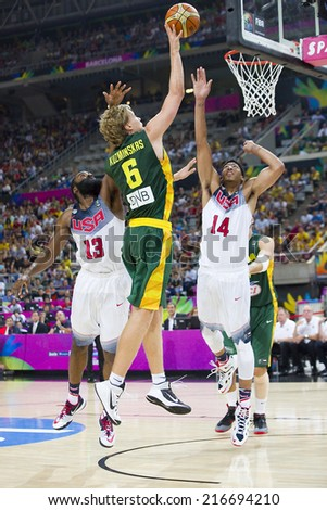 BARCELONA, SPAIN - SEPTEMBER 11: Mindaugas Kuzminskas of Lithuania (6) at FIBA World Cup basketball match between USA Team and Lithuania, final score 96-68, on September 11, 2014, in Barcelona, Spain. - stock photo