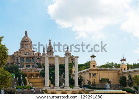 BARCELONA, SPAIN - SEPTEMBER 21: National Palau of Montjuic in September, 2012 in Barcelona, Spain. National Palace of Montjuic is now known as the National Art Museum of Catalonia.