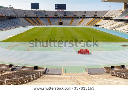 Barcelona, Spain - September 5, 2015: Olympic National Stadium Lewis Companys. It accommodates up to 70 000 spectators.