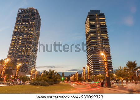 BARCELONA, SPAIN - SEPTEMBER 17; Olympic Port district Barcelona Hotel Arts and Mapfre Tower office building September 17 2016 in Barcelona, Spain.
