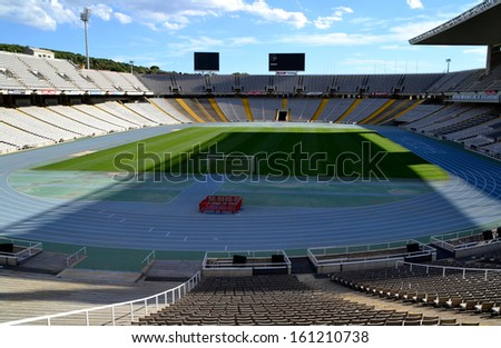 BARCELONA, SPAIN - SEPTEMBER 29: Olympic Stadium Lluis Companys in Barcelona, Spain on September 29, 2013. This stadium hosted the 1992 Summer Olympic Games.