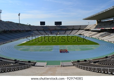 BARCELONA, SPAIN - SEPTEMBER 7: Olympic Stadium Lluis Companys in Barcelona, Spain on September 7, 2011. This stadium hosted the 1992 Summer Olympic Games.
