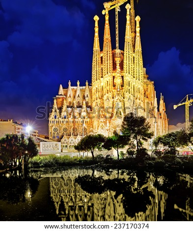 BARCELONA, SPAIN - SEPTEMBER 02: Sagrada Familia,beautiful and majestic  outdoor  view on September 02, 2014 in Barcelona, Spain. Designed by Antoni Gaudi, the church is still incomplete. - stock photo