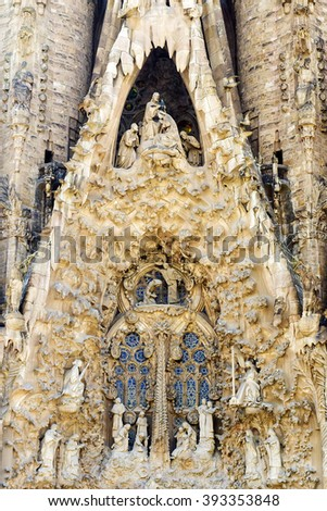 BARCELONA, SPAIN - SEPTEMBER 15: Sagrada Familia detail of architecture - the impressive cathedral designed by Gaudi, which is being built in 1882 and is not finished yet September 15, 2015 - stock photo