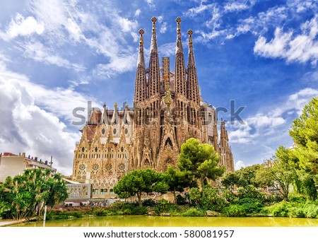 BARCELONA, SPAIN - SEPTEMBER 15,2015 :  Sagrada Familia  in  Barcelona. Sagrada  - the most known the buildings created by Antoni Gaudi.