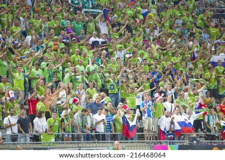 BARCELONA, SPAIN - SEPTEMBER 6: Slovenia supporters at FIBA World Cup basketball match between Slovenia and Dominican Republic, final score 71-61, on September 6, 2014, in Barcelona, Spain. - stock photo