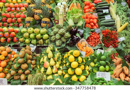 BARCELONA, SPAIN - September 29: Superfood, Only Fruits on September 29, 2015 in Barcelona, Spain. Famous La Boqueria market / photography of the variety of fruits at the market.