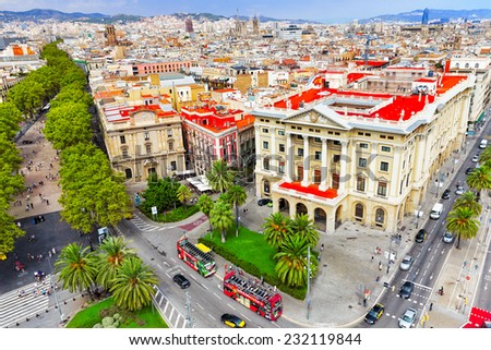 BARCELONA, SPAIN - SEPTEMBER 03: View of the greatest street Rambla  in Barcelona a  in September 03, 2014 in Barcelona. The most popular place to walk for tourists. Panorama on Barcelona city - stock photo
