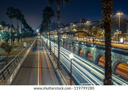 Barcelona, Spain skyline at night - stock photo
