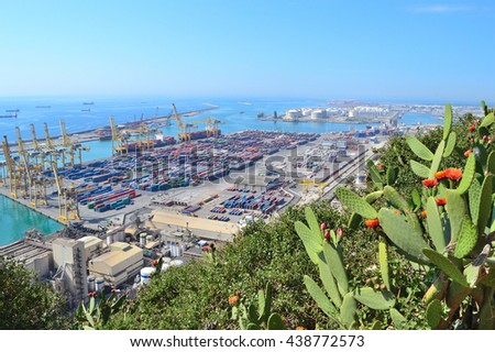Barcelona, Spain. View of the port from Montjuic