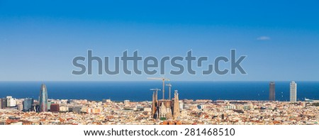 Barcelona - Spain. Wonderful blue sky during a sunny day on the city, with Sagrada Familia view. - stock photo