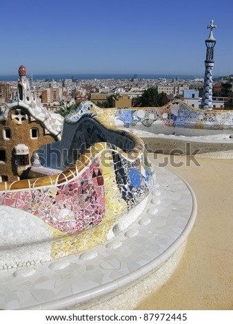 Barcelona: View from Parc Guell, the famous and beautiful park designed by Antoni Gaudi, one of the highlights of the city - stock photo