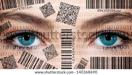Barcode face - stock photo