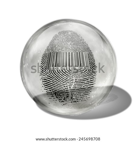 Barcode Fingerprint Enclosed in Glass - stock photo