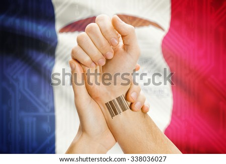 Barcode ID number tatoo on wrist and USA statesl flag on background - Iowa