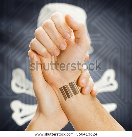 Barcode ID tattoo on hand and Jolly Roger flag on background series - symbol of piracy - stock photo