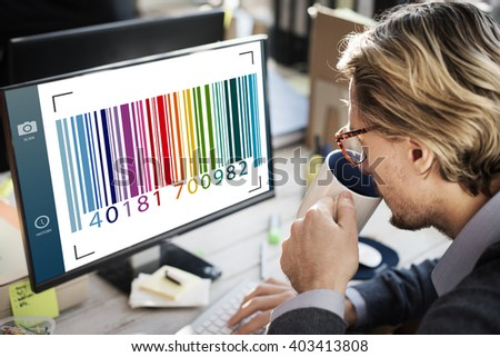 Barcode  Label Camera Focus Interface  - stock photo