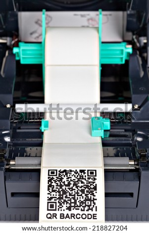 Barcode label printer.Barcode for use - no copyright issues as constructed. - stock photo