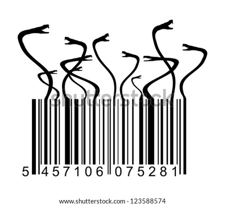 barcode with snakes - stock photo