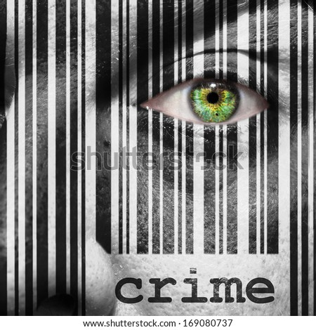 Barcode with the word crime as concept superimposed on a man's face