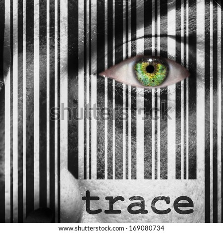 Barcode with the word trace as concept superimposed on a man's face - stock photo