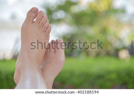 Bare feet ,Relaxing - stock photo
