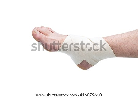 Bare Foot Wearing Flexible Elastic Supportive Orthopedic Ankle Brace in Studio with White Background and Copy Space, Compression stabilizer ankle. Foot injury, compression bandage, support - stock photo