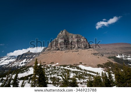 Bare mountaintop above the snow level at Glacier National park - stock photo