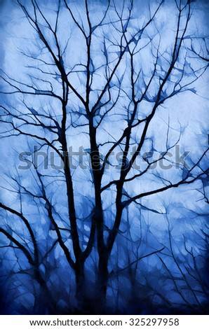 Bare tree at dusk turned into a colorful painting - stock photo
