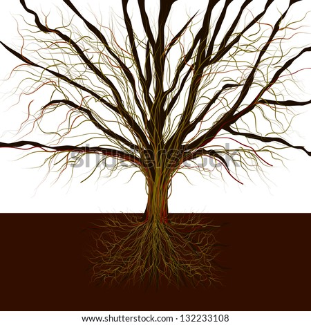 bare tree with roots , Raster - stock photo